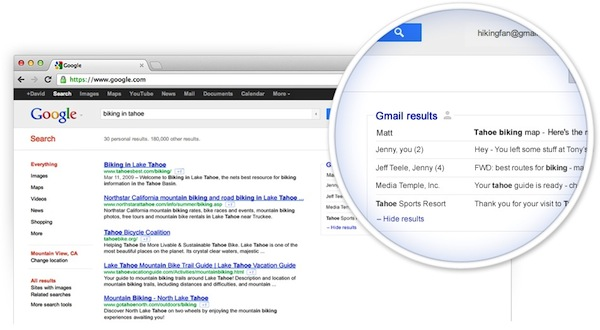 Gmail in your Google Search
