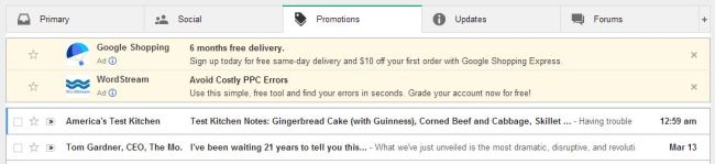 Gmail's reformatted inbox ads in the Promotions tab
